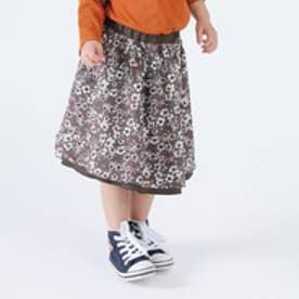 フラワープリント リバーシブルスカート (ブラウン)