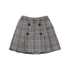 チェック スカート【オケージョン・フォーマル・結婚式・お呼ばれ】(ブラック)