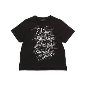 メッセージプリント 半袖Tシャツ (ブラック)