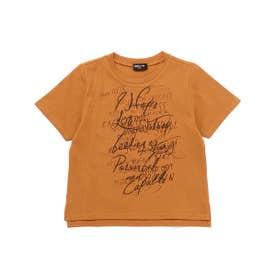 メッセージプリント 半袖Tシャツ (オレンジ)