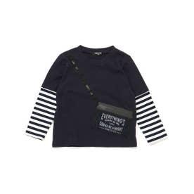 サコッシュ付き レイヤード長袖Tシャツ (ネイビー)