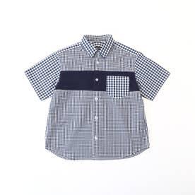 ギンガムチェック 半袖シャツ (ネイビー)