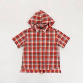 フード付き チェックシャツ (レッド)
