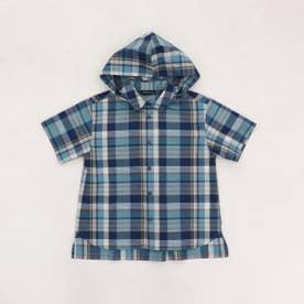 フード付き チェックシャツ (ブルー)