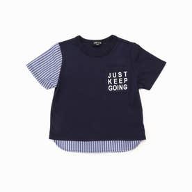 ストライプ使い Tシャツ (ネイビー)