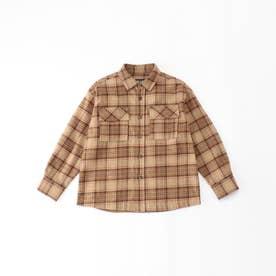 チェックシャツ (ベージュ)