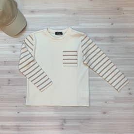 ボーダー使い長袖Tシャツ (アイボリー)