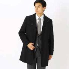 《ビジネス対応》 スタンドカラー コート (ブラック)