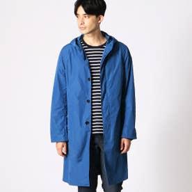 【撥水】 ナイロン フード付きコート (ブルー)