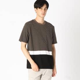 <吸水速乾機能>パネルボーダー Tシャツ (カーキ)