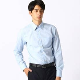 《イージーケア・抗菌防臭加工》 市松柄 レギュラーカラーシャツ (サックス)
