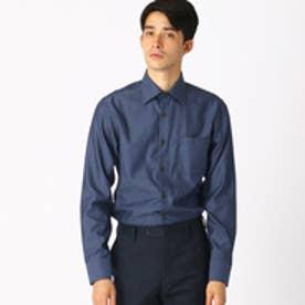 《イージーケア・抗菌防臭加工》 デニムルックシャンブレー ワイドカラーシャツ (ブルー)