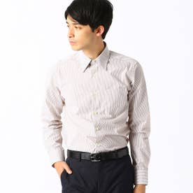 《イージーケア・抗菌防臭加工》 カラーストライプ レギュラーカラーシャツ (ブラウン)