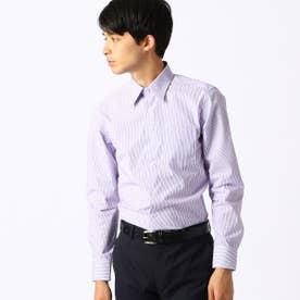 《イージーケア・抗菌防臭加工》 カラーストライプ レギュラーカラーシャツ (ライラック)