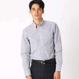 《イージーケア・抗菌防臭加工》 カラーチェック ボタンダウンカラーシャツ (グレー)