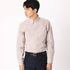 《イージーケア・抗菌防臭加工》 カラーチェック ボタンダウンカラーシャツ (ブラウン)