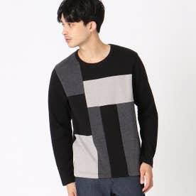 カラーブロックTシャツ (ブラック)