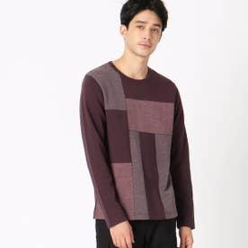 カラーブロックTシャツ (ワイン)