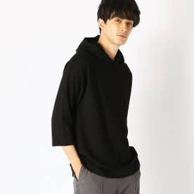七分袖 フードTシャツ (ブラック)