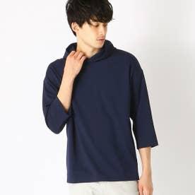 七分袖 フードTシャツ (ネイビー)