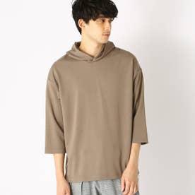 七分袖 フードTシャツ (ベージュ)