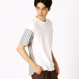 異素材 コンビTシャツ (ホワイト)