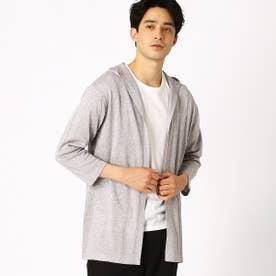 Tシャツセット ボタンレスカーディガン (グレー)