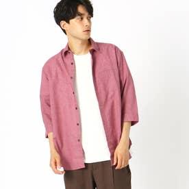 リネン 7分袖シャツ (ピンク)