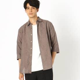 リネン 7分袖シャツ (ブラウン)