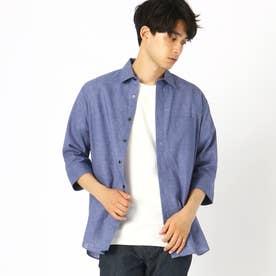 リネン 7分袖シャツ (ブルー)