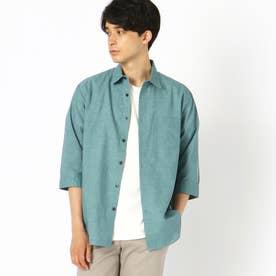 リネン 7分袖シャツ (ターコイズ)