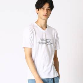 プリント VネックTシャツ (ホワイト)