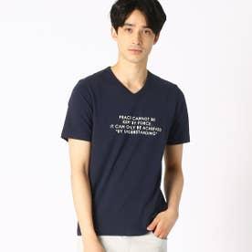 プリント VネックTシャツ (ネイビー)