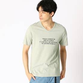 プリント VネックTシャツ (ミント)