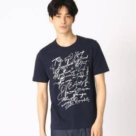 プリント クルーネックTシャツ (ネイビー)