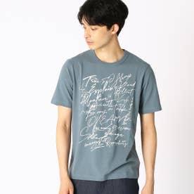 プリント クルーネックTシャツ (ターコイズ)
