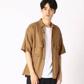 ダブルポケット ワークシャツ (ブラウン)