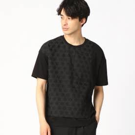 籠目柄(かごめ柄) Tシャツ (ブラック)