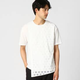 籠目柄(かごめ柄) イレギュラーヘム Tシャツ (ホワイト)