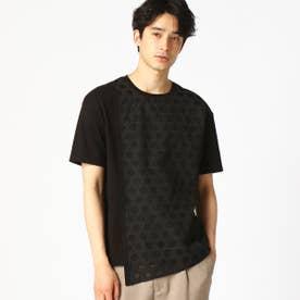 籠目柄(かごめ柄) イレギュラーヘム Tシャツ (ブラック)