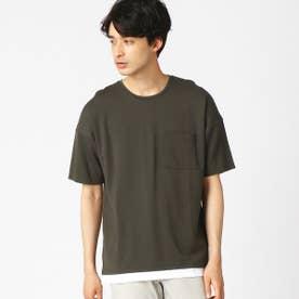 フェイクレイヤード Tシャツ (カーキ)