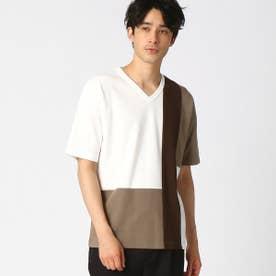 パッチワーク Vネック Tシャツ (ホワイト)
