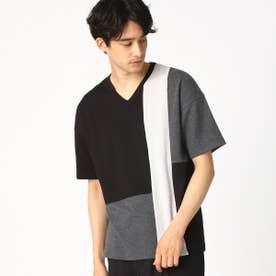 パッチワーク Vネック Tシャツ (ブラック)