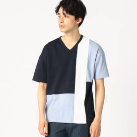 パッチワーク Vネック Tシャツ (ネイビー)