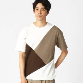 パッチワーク クルーネック Tシャツ (ホワイト)