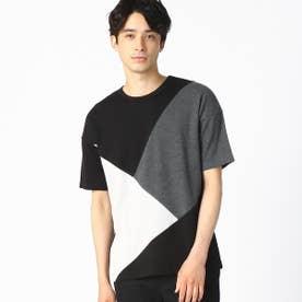 パッチワーク クルーネック Tシャツ (ブラック)
