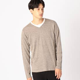 《セットアイテム》 Tシャツ × Vネックプルオーバー (ブラウン)