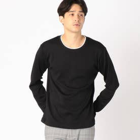 フェイクレイヤード 長袖Tシャツ (ブラック)