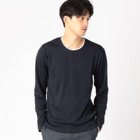 フェイクレイヤード 長袖Tシャツ (ネイビー)