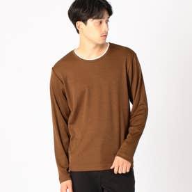 フェイクレイヤード 長袖Tシャツ (ブラウン)